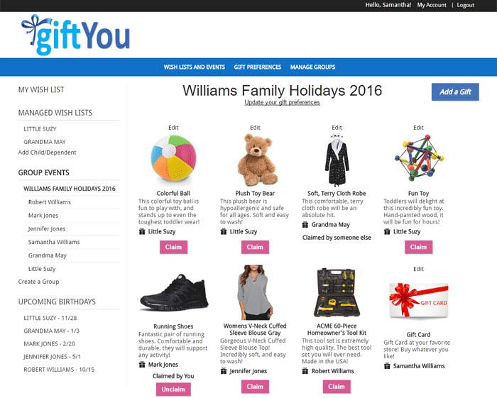 Screen shot of Wish List or Registry