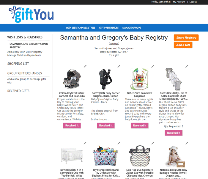 Screen shot of Baby Registry