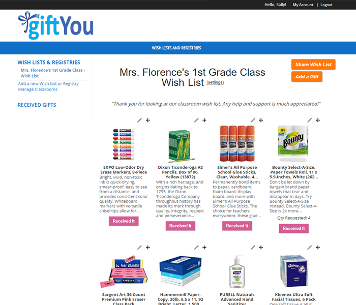 Screen shot of Wish List for Teachers, Classrooms and Schools