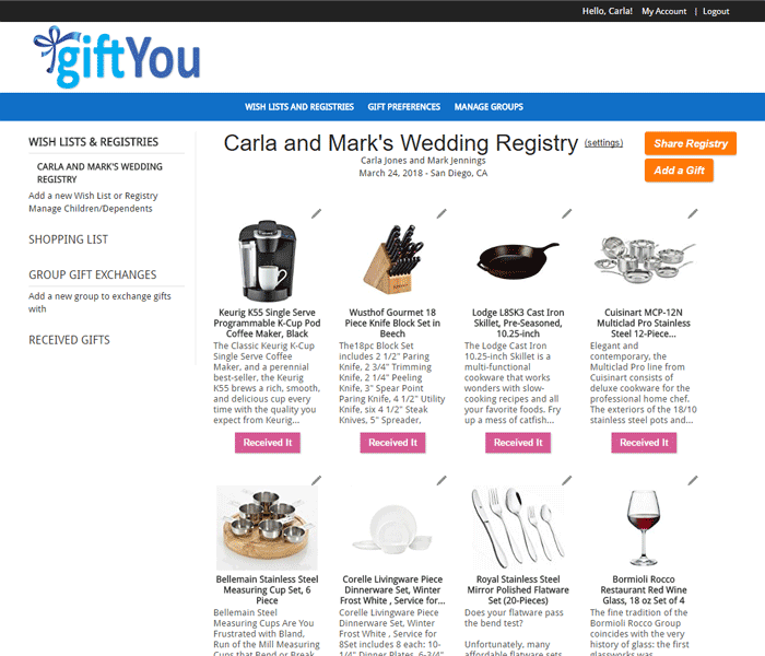 Screen shot of Wedding Registry