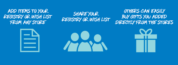 Steps on how to create a wish list, baby registry or wedding registry